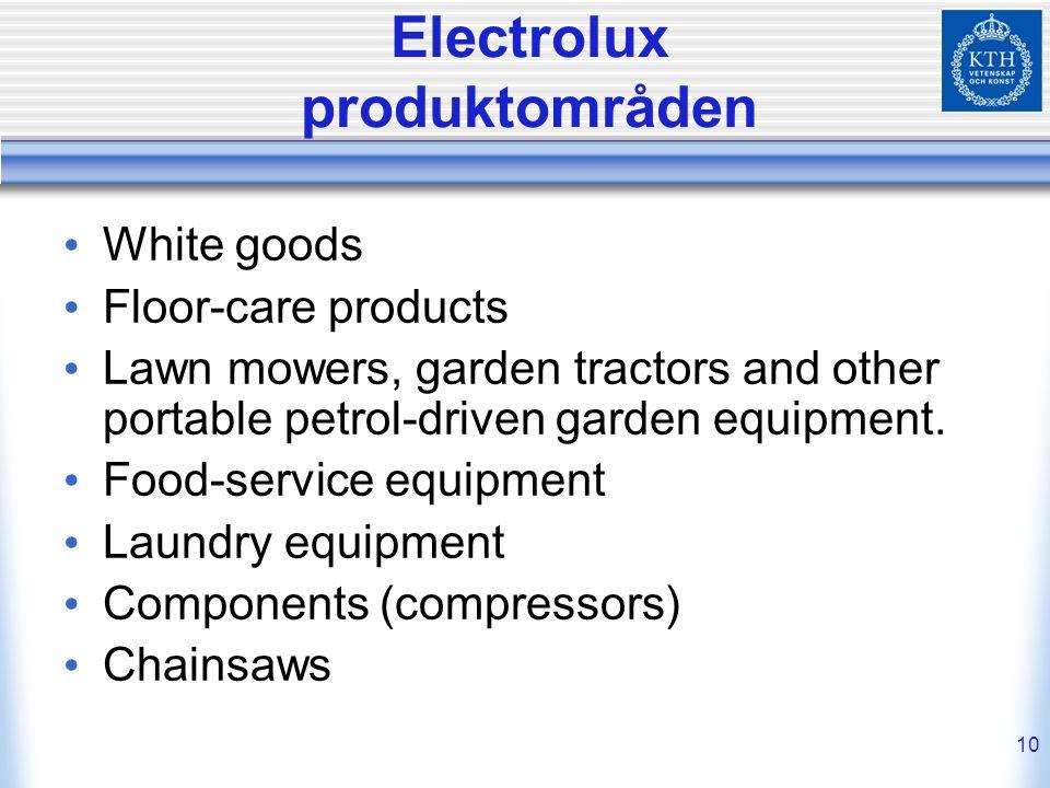 Electrolux produktområden