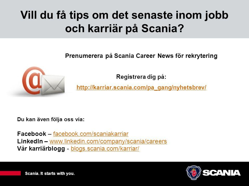 Vill du få tips om det senaste inom jobb och karriär på Scania
