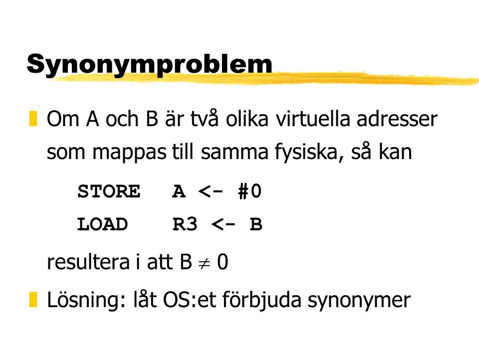 Synonymproblem Om A och B är två olika virtuella adresser som mappas till samma fysiska, så kan. STORE A <- #0 LOAD R3 <- B.