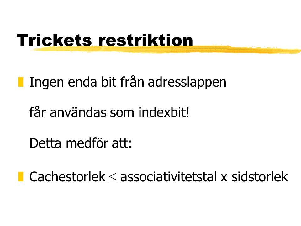 Trickets restriktion Ingen enda bit från adresslappen får användas som indexbit! Detta medför att:
