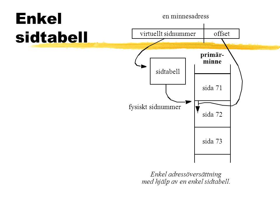 Enkel sidtabell en minnesadress virtuellt sidnummer offset primär-