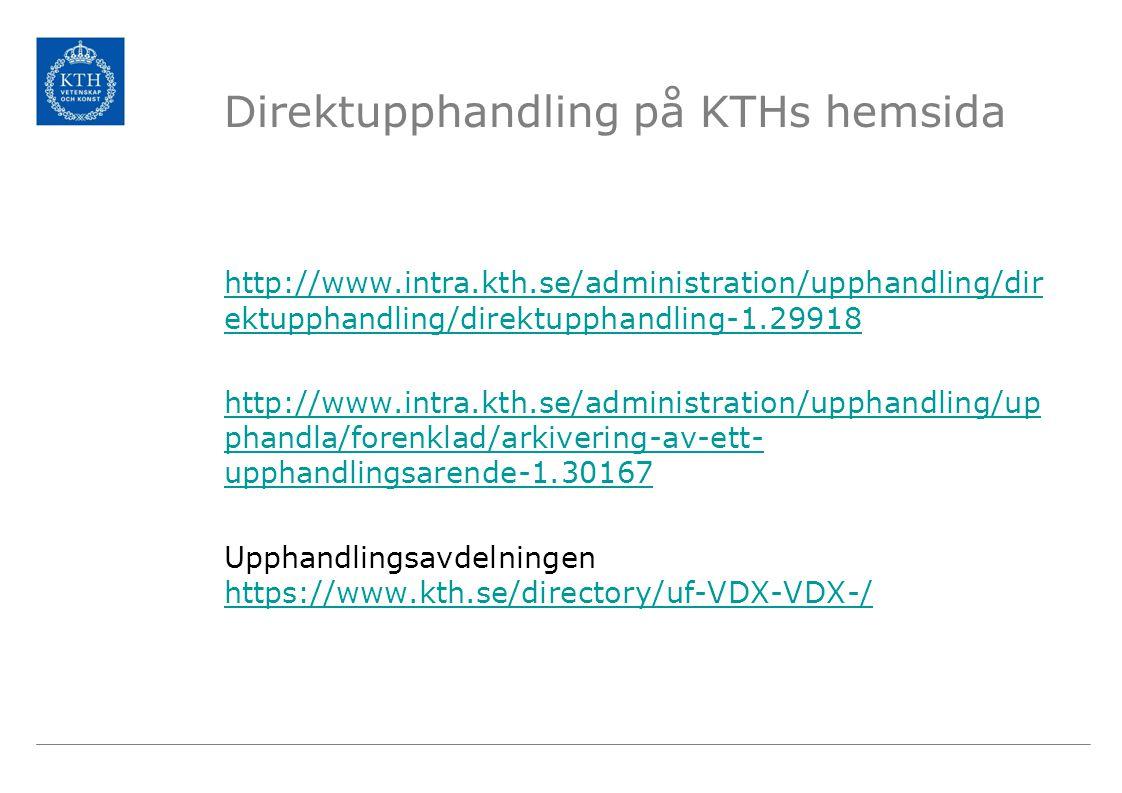 Direktupphandling på KTHs hemsida