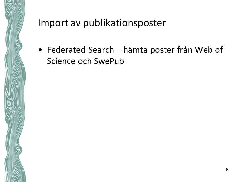 Import av publikationsposter