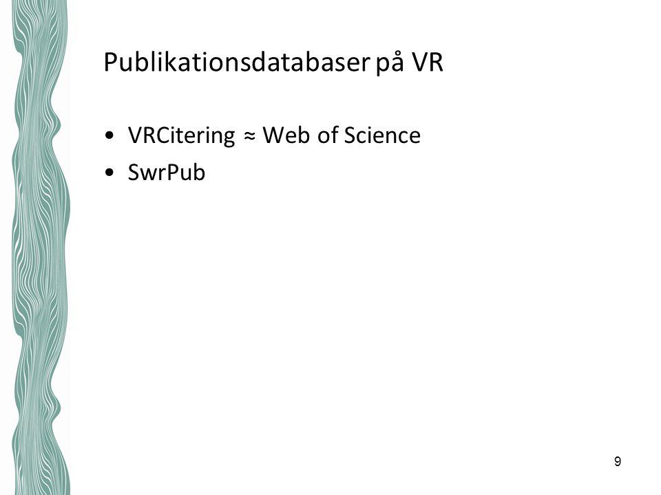 Publikationsdatabaser på VR