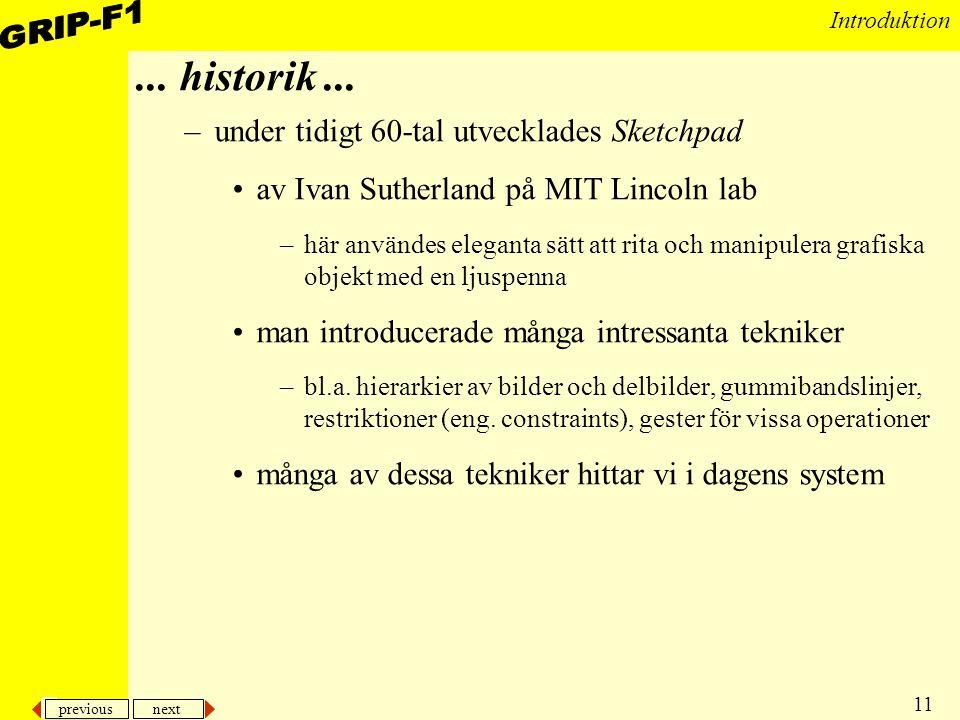 ... historik ... under tidigt 60-tal utvecklades Sketchpad