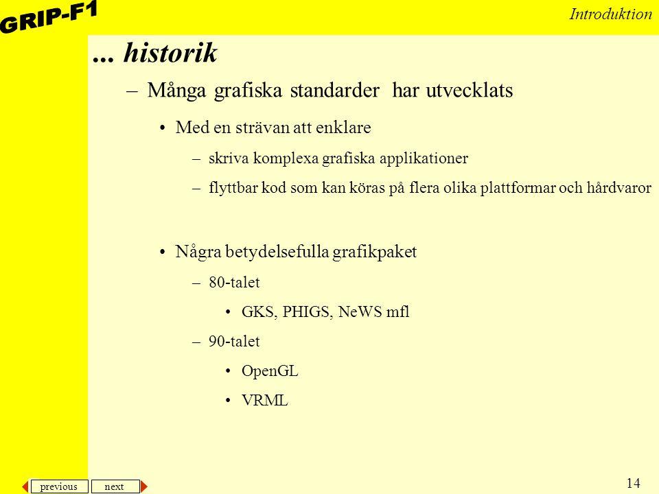 ... historik Många grafiska standarder har utvecklats