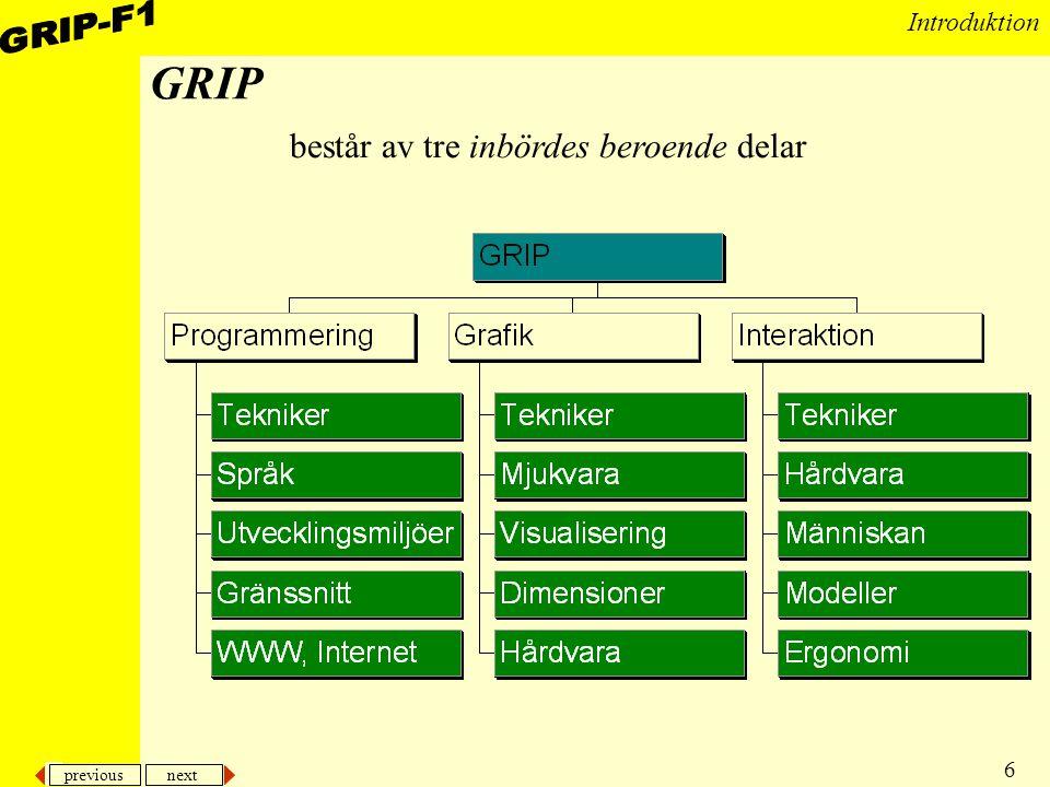 GRIP består av tre inbördes beroende delar