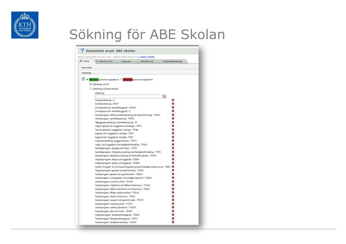 Sökning för ABE Skolan Ett exempel på en sökning.