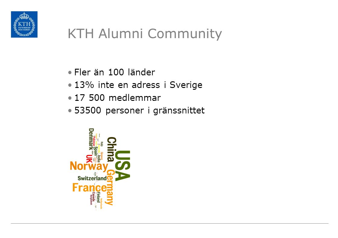 KTH Alumni Community Fler än 100 länder 13% inte en adress i Sverige