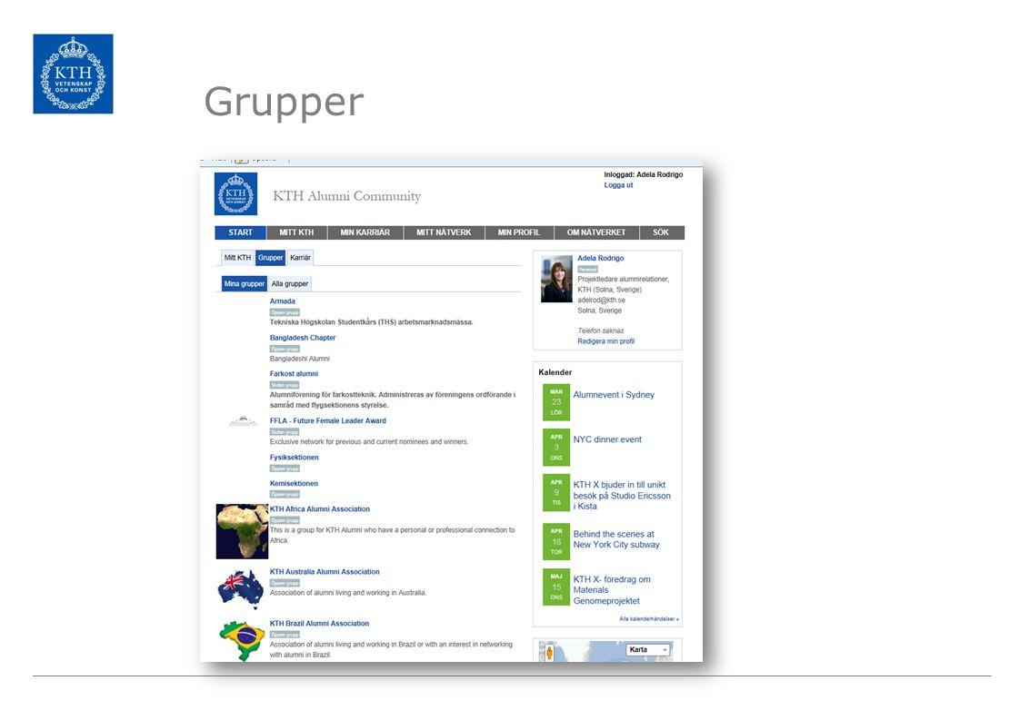 Grupper Medlemmarna kan gå med i olika grupper, geografiska eller intresseföreningar