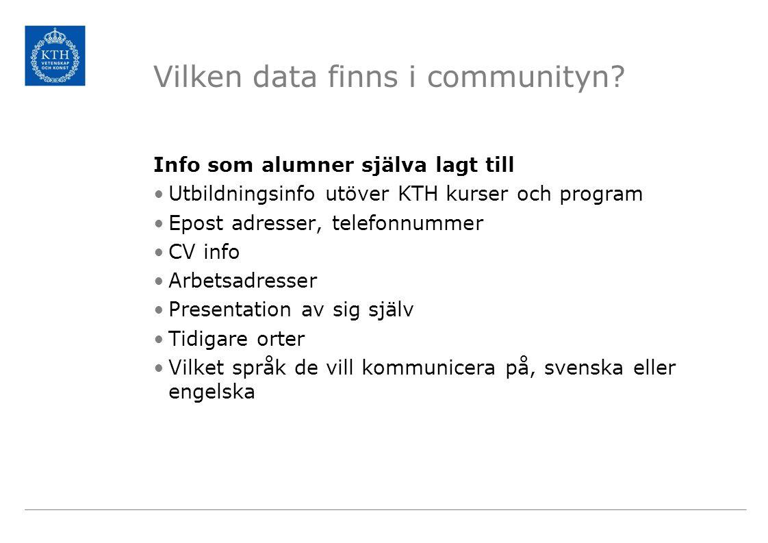 Vilken data finns i communityn