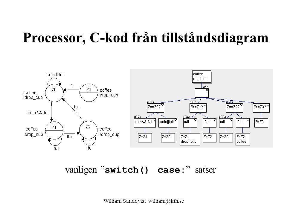 Processor, C-kod från tillståndsdiagram