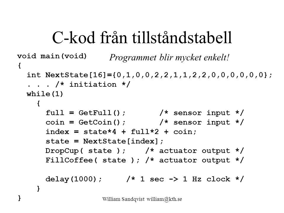 C-kod från tillståndstabell