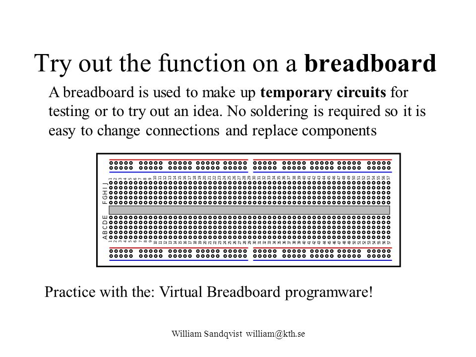 Try out the function on a breadboard