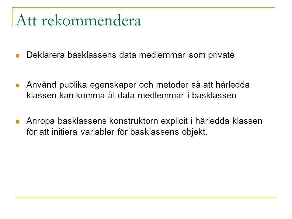 Att rekommendera Deklarera basklassens data medlemmar som private