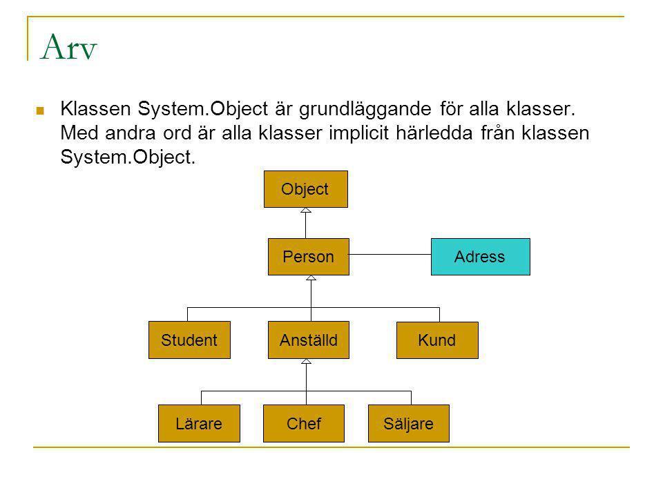 Arv Klassen System.Object är grundläggande för alla klasser. Med andra ord är alla klasser implicit härledda från klassen System.Object.