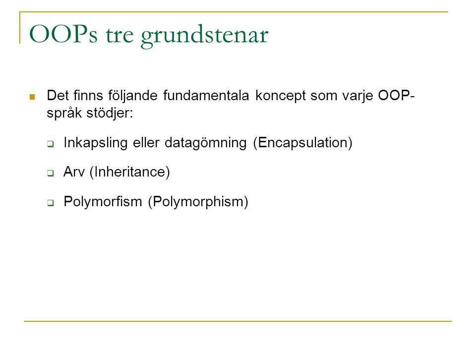 OOPs tre grundstenar Det finns följande fundamentala koncept som varje OOP- språk stödjer: Inkapsling eller datagömning (Encapsulation)