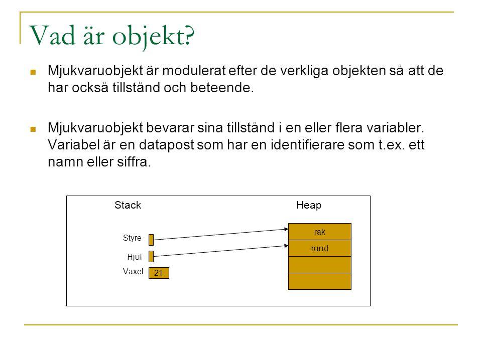 Vad är objekt Mjukvaruobjekt är modulerat efter de verkliga objekten så att de har också tillstånd och beteende.