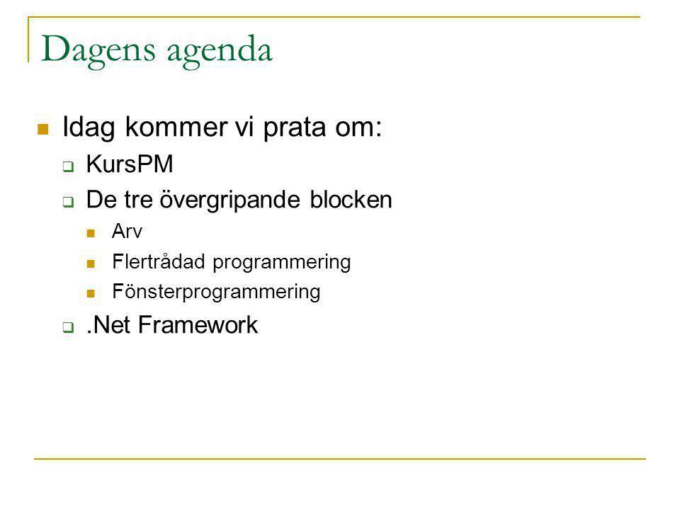 Dagens agenda Idag kommer vi prata om: KursPM