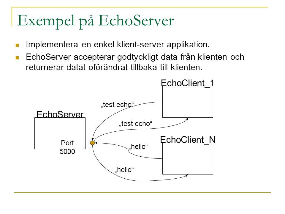 Exempel på EchoServer EchoClient_1 EchoServer EchoClient_N
