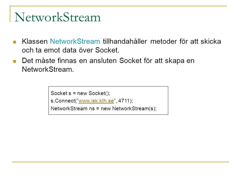 NetworkStream Klassen NetworkStream tillhandahåller metoder för att skicka och ta emot data över Socket.
