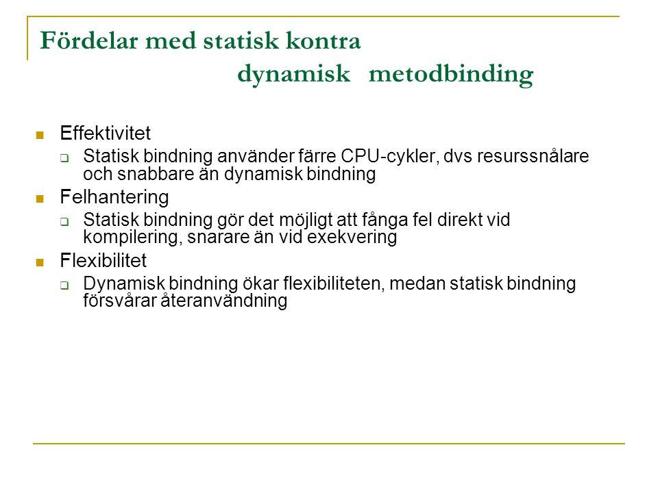 Fördelar med statisk kontra dynamisk metodbinding