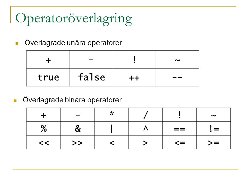 Operatoröverlagring + - ! ~ true false ++ -- + - * / ! ~ % & | ^ == !=