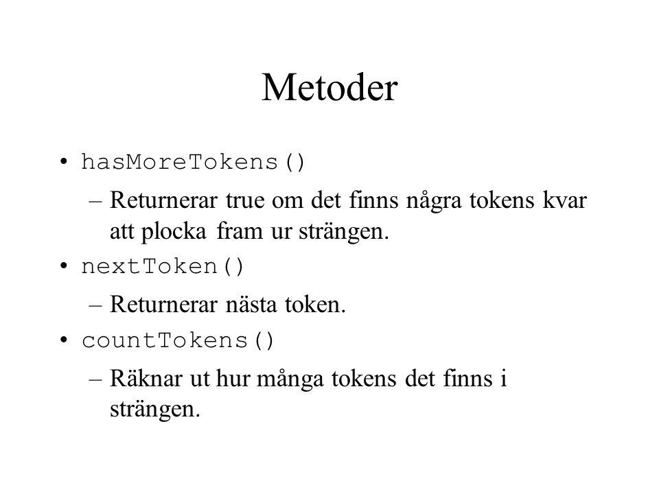 Metoder hasMoreTokens()