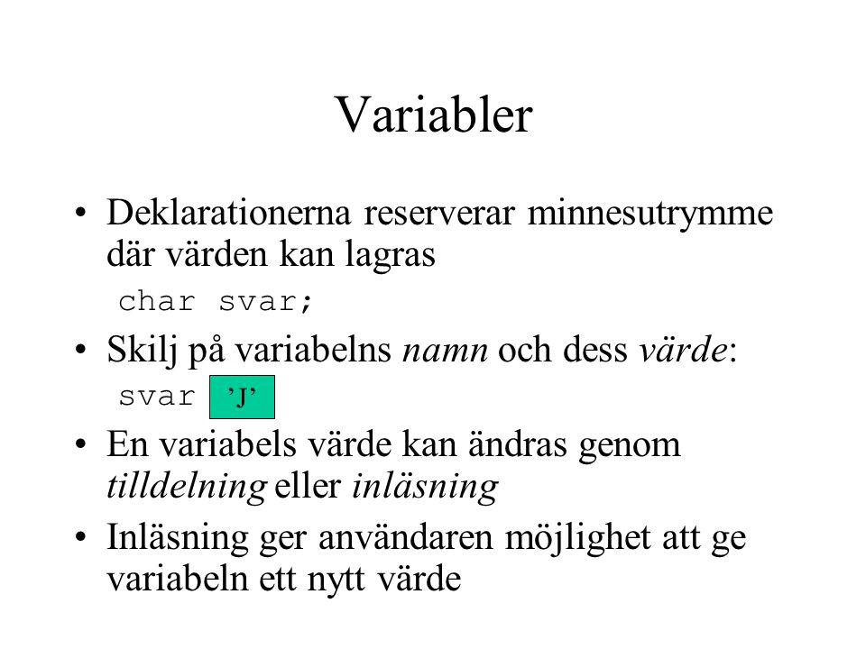 Variabler Deklarationerna reserverar minnesutrymme där värden kan lagras. char svar; Skilj på variabelns namn och dess värde: