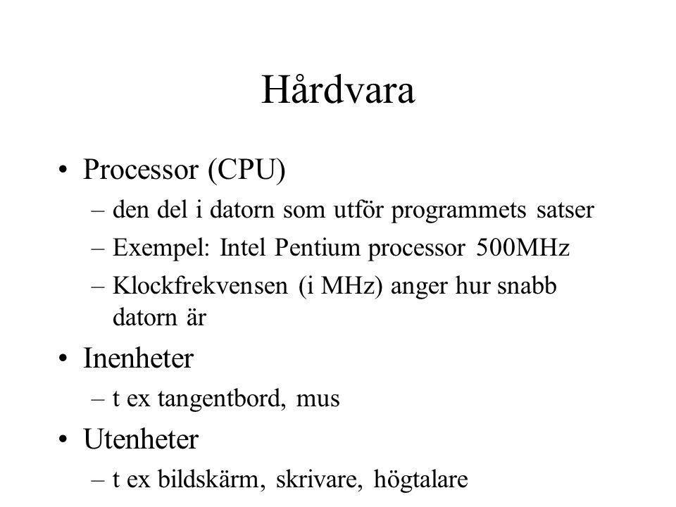 Hårdvara Processor (CPU) Inenheter Utenheter