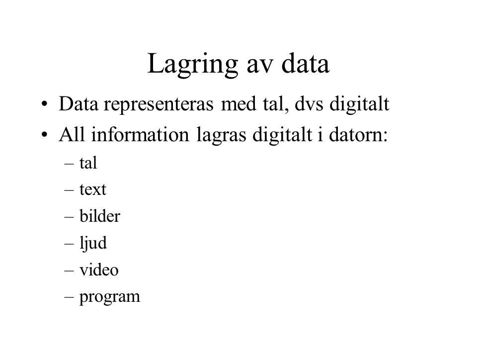Lagring av data Data representeras med tal, dvs digitalt