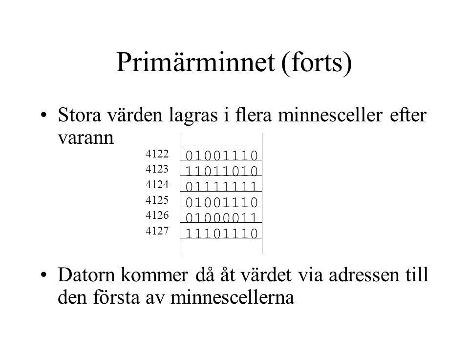 Primärminnet (forts) Stora värden lagras i flera minnesceller efter varann.