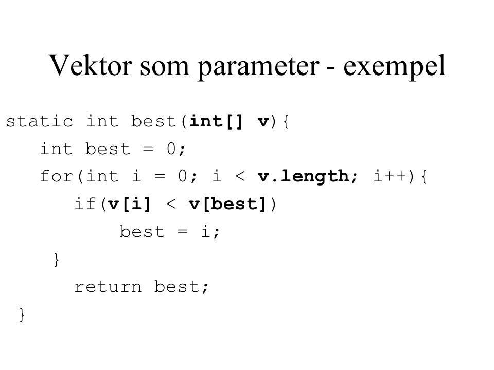 Vektor som parameter - exempel