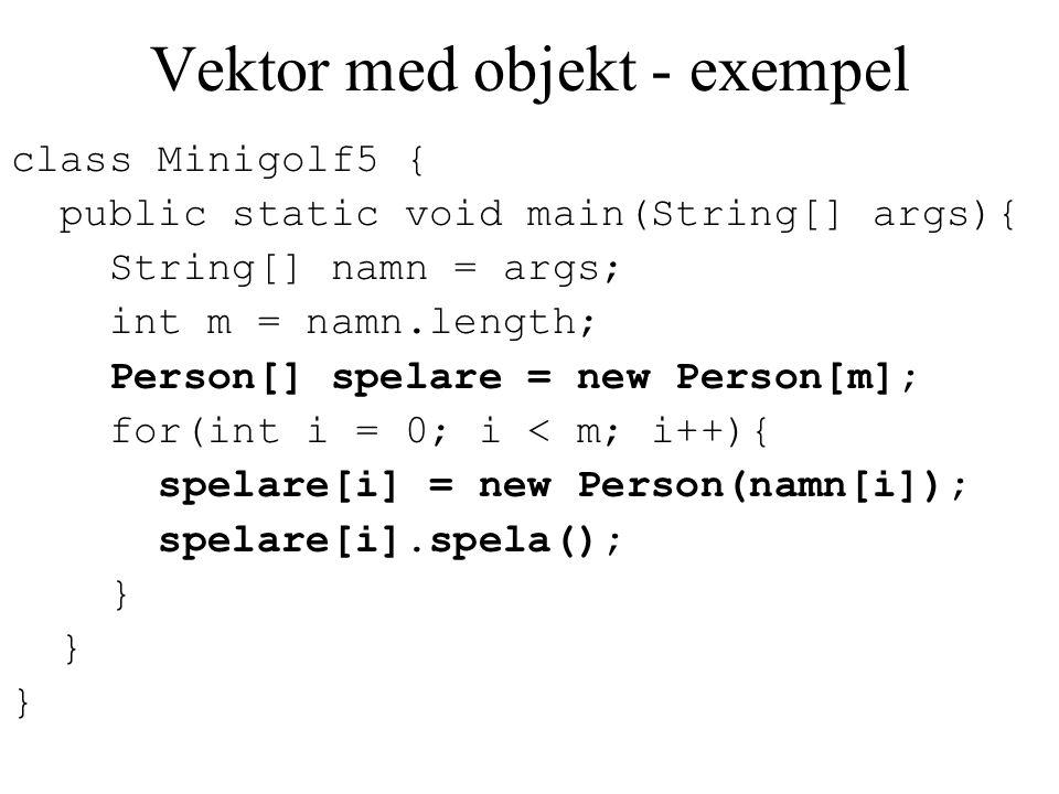 Vektor med objekt - exempel
