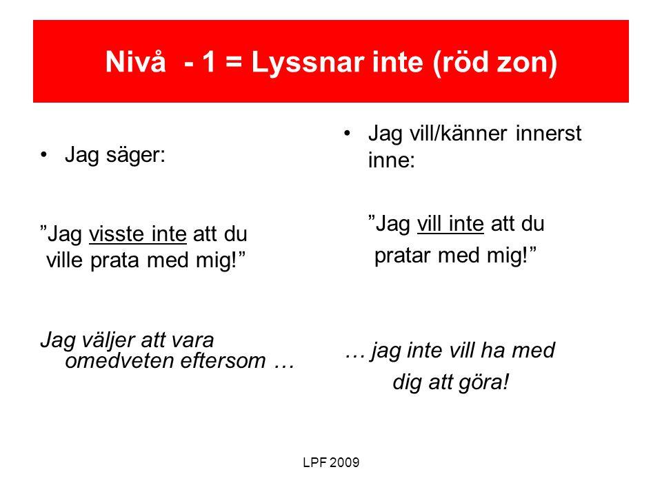 Nivå - 1 = Lyssnar inte (röd zon)