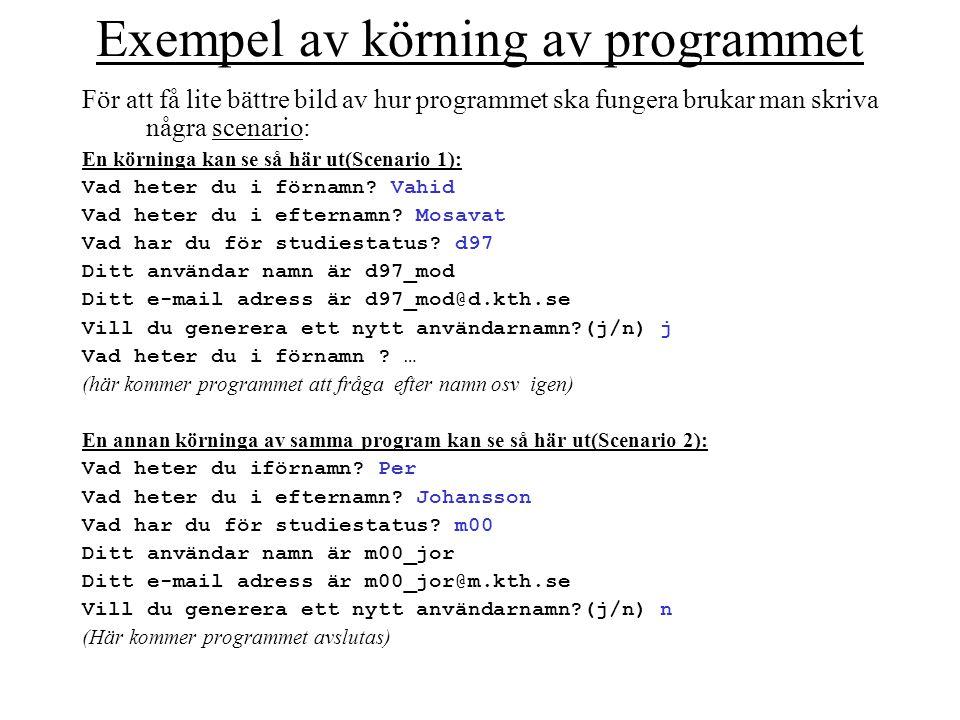 Exempel av körning av programmet