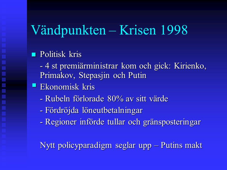Vändpunkten – Krisen 1998 Politisk kris