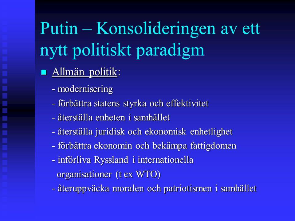 Putin – Konsolideringen av ett nytt politiskt paradigm