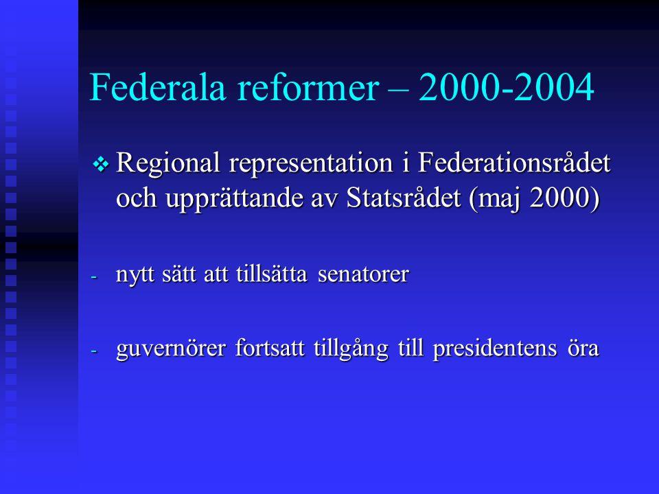 Federala reformer – 2000-2004 Regional representation i Federationsrådet och upprättande av Statsrådet (maj 2000)
