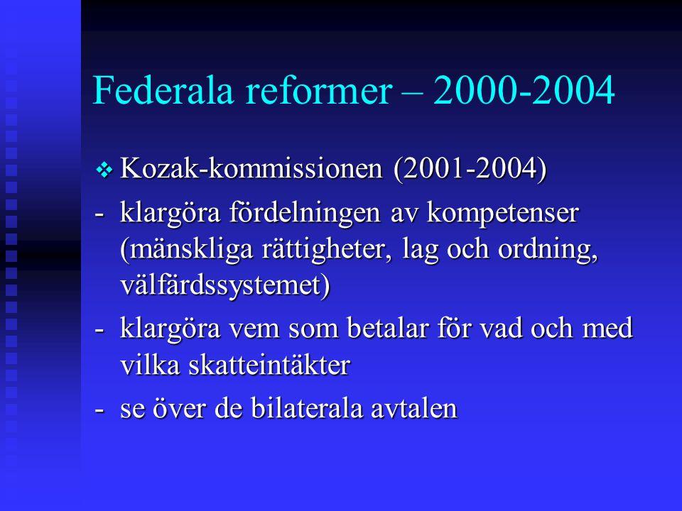 Federala reformer – 2000-2004 Kozak-kommissionen (2001-2004)