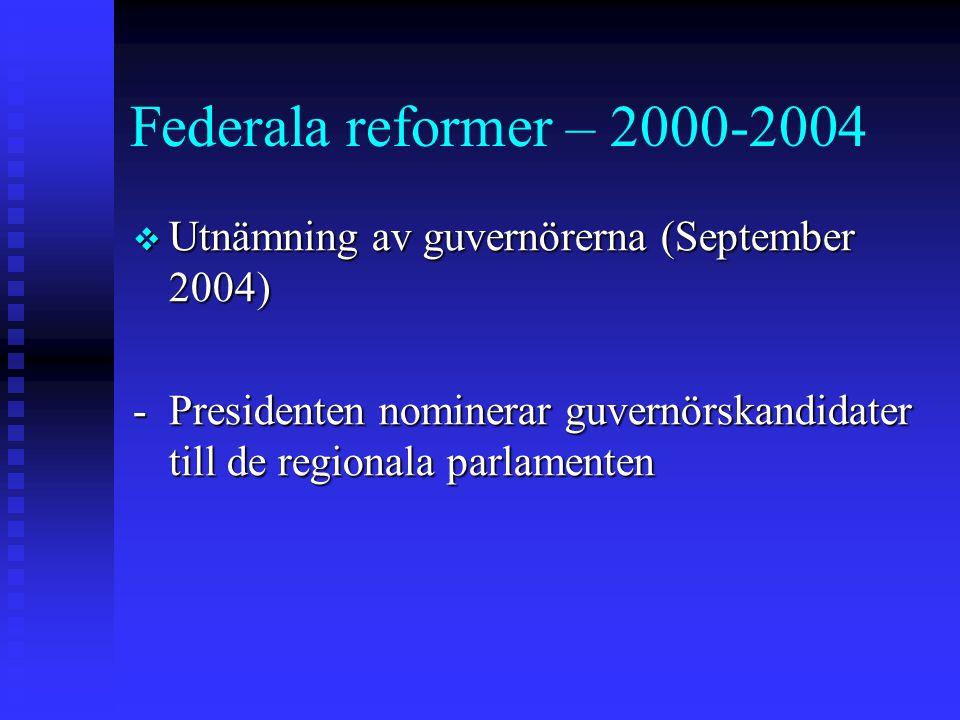 Federala reformer – 2000-2004 Utnämning av guvernörerna (September 2004) - Presidenten nominerar guvernörskandidater till de regionala parlamenten.