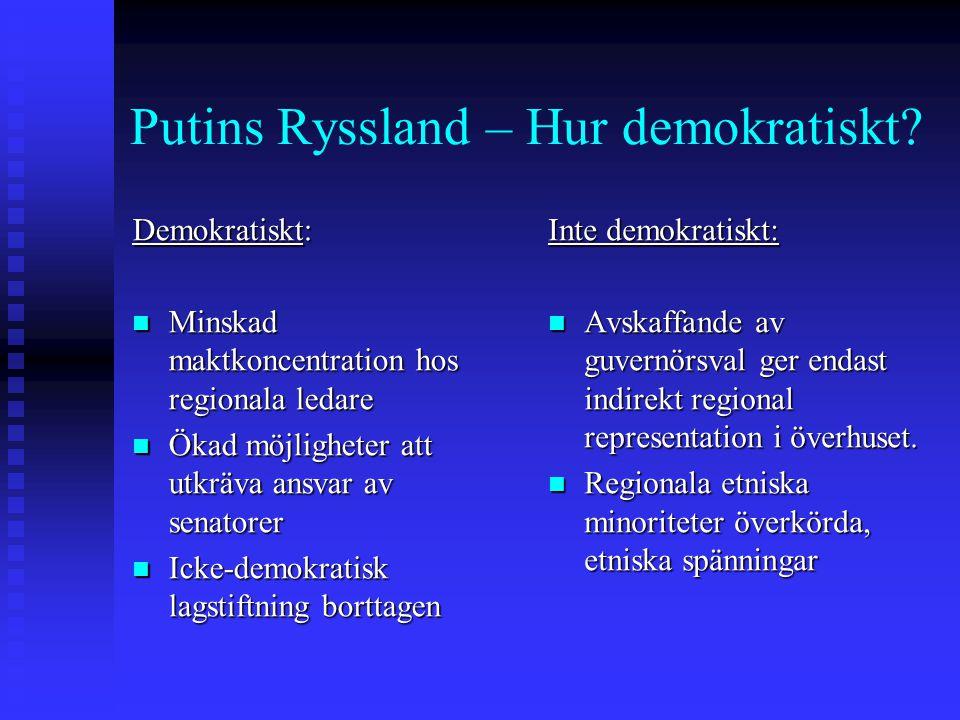 Putins Ryssland – Hur demokratiskt