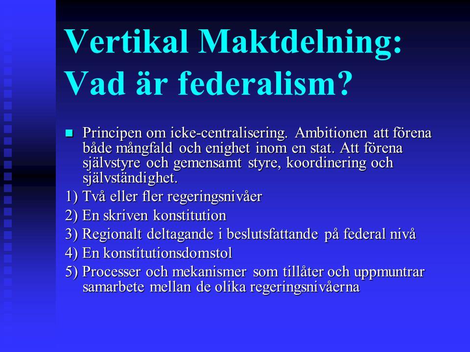 Vertikal Maktdelning: Vad är federalism