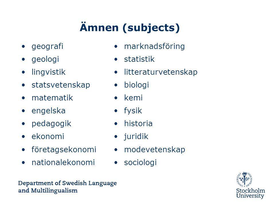 Ämnen (subjects) geografi geologi lingvistik statsvetenskap matematik