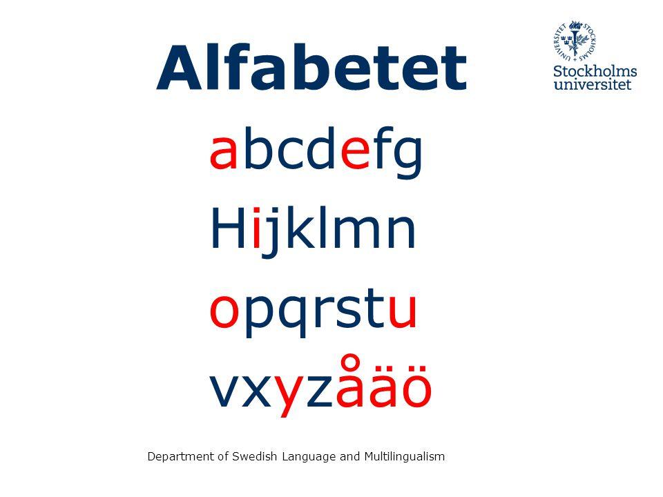 abcdefg Hijklmn opqrstu vxyzåäö Alfabetet