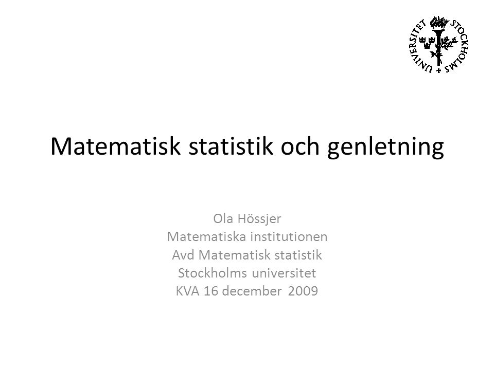 Matematisk statistik och genletning