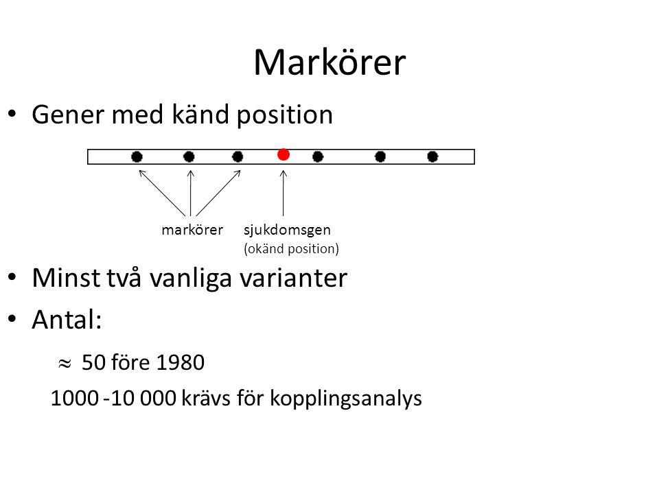 Markörer Gener med känd position Minst två vanliga varianter Antal: