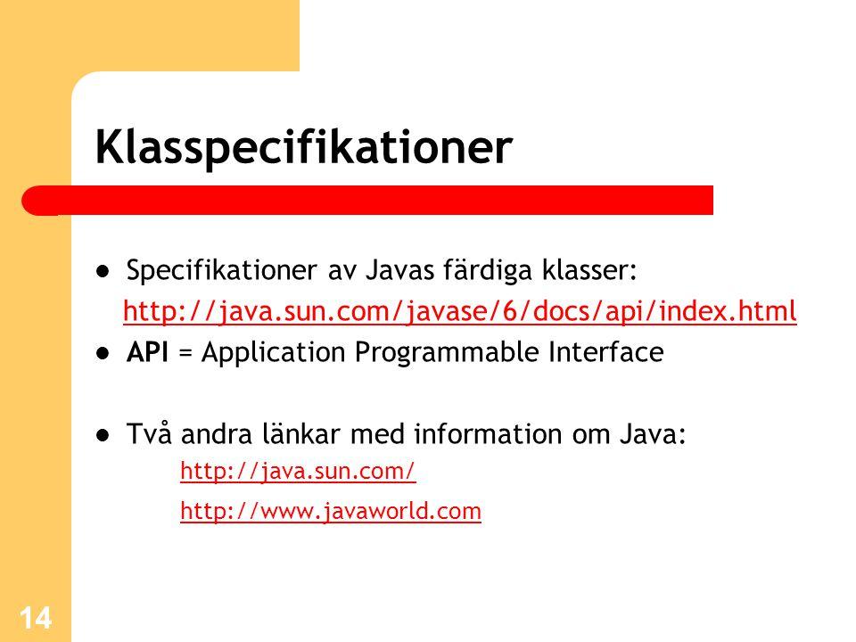 Klasspecifikationer Specifikationer av Javas färdiga klasser: