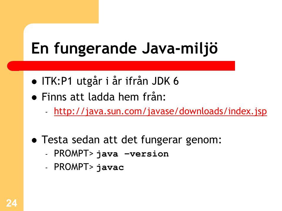 En fungerande Java-miljö