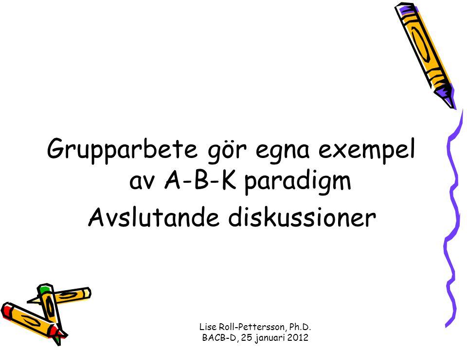 Grupparbete gör egna exempel av A-B-K paradigm Avslutande diskussioner